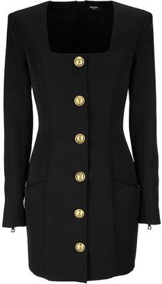 Balmain Short dress in wool with golden buttons