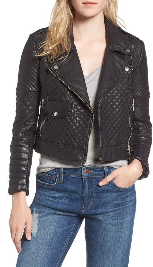 6b786c3d37 Quilted Leather Moto Jacket - ShopStyle