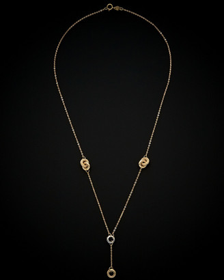 Italian Gold 14K Two-Tone Gold Diamond Cut Lariat Necklace
