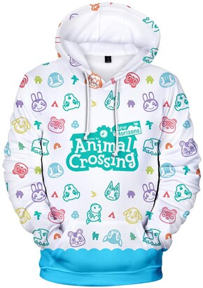 Silver Basic Womens Animal Crossing Hoodie Cute Animal Prints Sweatshirt for Ladies and Girls Perfect Video Game Gifts Fashion Pullover Jumper 4XL