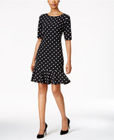 Jessica Howard Petite Polka-Dot Flounce Dress