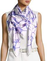Anna Coroneo Silk Satin Square Water Scarf, Purple