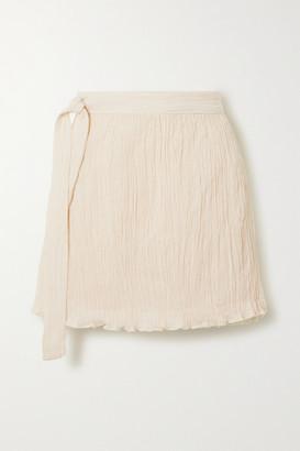 Savannah Morrow The Label The Hayi Crinkled Organic Cotton-gauze Wrap Mini Skirt - Cream
