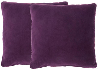 Nourison Life Styles Solid Velvet Pillow Covers, Set Of 2, Purple