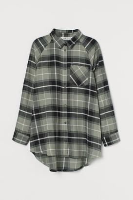 H&M Oversized Flannel Shirt - Green