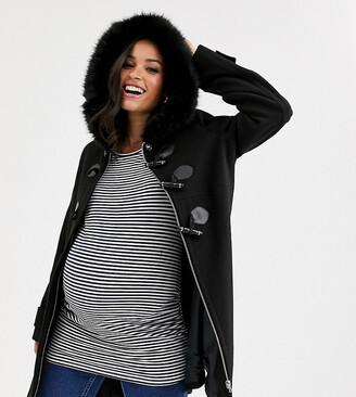 Asos DESIGN Maternity duffle coat with faux fur trim in black