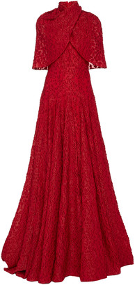 Brandon Maxwell Cape-Effect Fil Coupe Gown