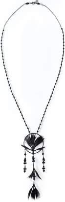 Valentino Garavani Gunmetal-tone, Feather And Beaded Necklace