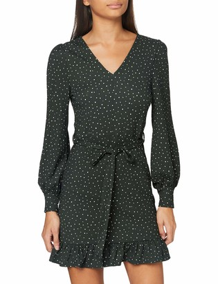 Miss Selfridge Petite Women's Petite Dark Green Printed Textured Dress Casual 16