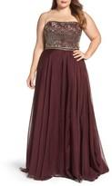 Mac Duggal Plus Size Women's Beaded Bodice Strapless Chiffon Gown