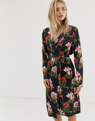 Just Female Natalia floral print wrap dress-Black