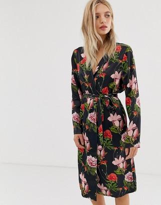 Just Female Natalia floral print wrap dress
