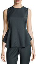 Theory Kalsing Sculptural Peplum Top, Slate