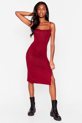 Nasty Gal Womens Fitted Square Neck Midi Dress - Burgundy