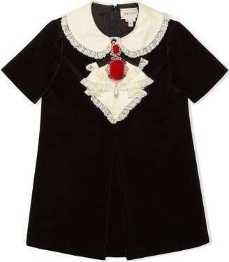 Gucci Kids Children's Velvet Dress With Bow