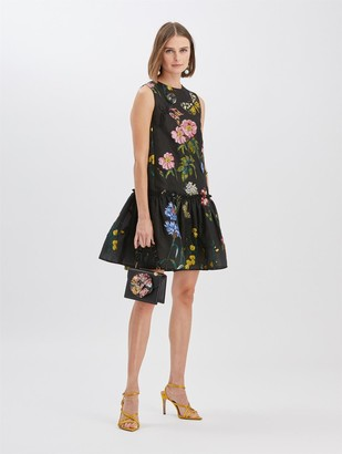 Oscar de la Renta Fil Coupe Drop Waist Dress