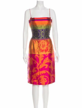 Oscar de la Renta Floral Print Midi Length Dress Orange