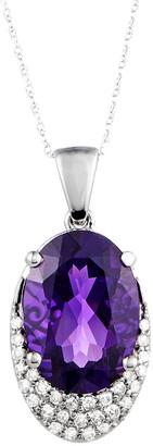 Generic Gemstones 14K 0.27 Ct. Tw. Diamond & Amethyst Necklace
