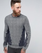 Asos Cable Knit Sweater in Metallic Yarn with Rib Detail