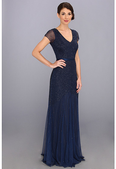 Adrianna Papell V-Neck Cap Sleeve Bead Gown
