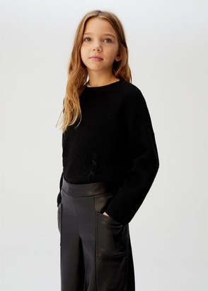 MANGO Faux-leather culotte trousers