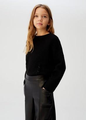 MANGO Faux-leather culotte trousers