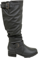 Yours Clothing Black Knee High Biker Boot With Buckles In EEE Fit