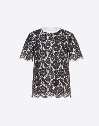 Valentino Heavy Lace T-shirt Women Black Cotton 100% L