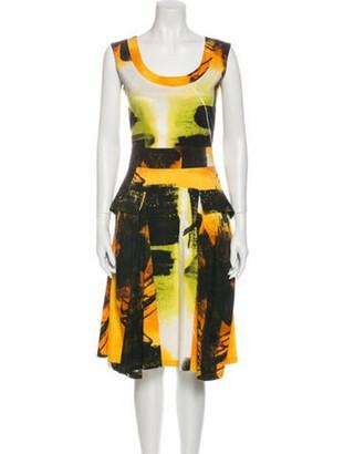 Samantha Sung Printed Midi Length Dress Yellow