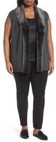 Lafayette 148 New York Merino Blend Vest with Genuine Shearling Trim (Plus Size)