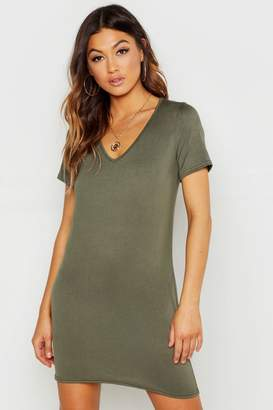 boohoo V Neck Short Sleeve T-Shirt Dress