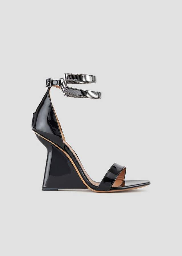 b044752d381 Sandals In Patent Nappa Leather With Asymmetric Heel And Metal Link Straps