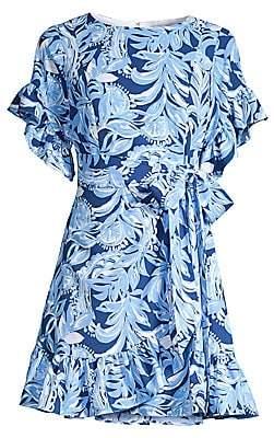 Lilly Pulitzer Women's Darlah Floral Print Stretch Tie-Waist A-Line Dress