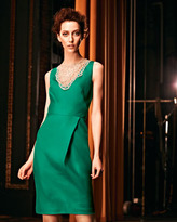 Lela Rose Bead-Neck Silk Dress