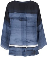 Amanda Wakeley Painterly Denim Brushstroke Print Top
