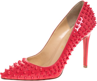 Christian Louboutin Coral Patent Leather Follies Spikes Peep Toe Pumps Size 39.5