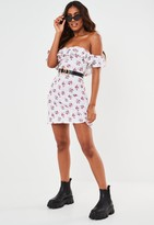 Missguided White Floral Bardot Frill Skater Dress