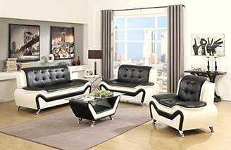 US Pride Furniture 4 Piece Modern Bonded Leather Sofa Set with Sofa
