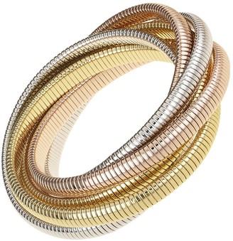 Janis Savitt High Polished Rhodium, Rose and Yellow Gold Plated Six Cobra Bracelet