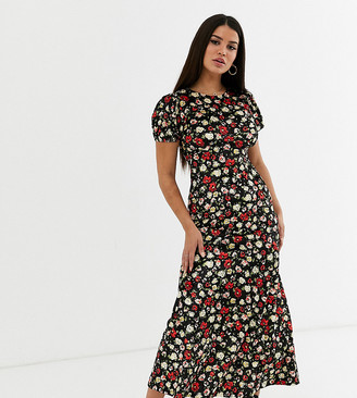 Asos DESIGN Petite printed velvet maxi tea dress
