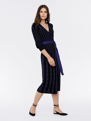 Diane von Furstenberg Tracy Ribbed Knit Midi Wrap Dress