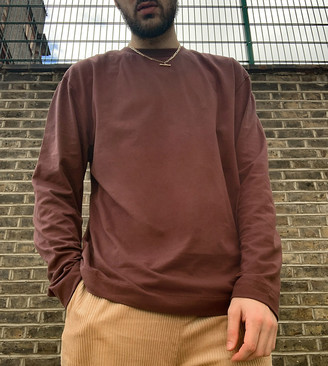 Collusion long sleeve t-shirt in brown