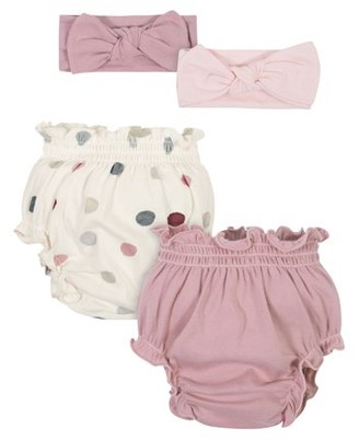 Modern Moments by Gerber Baby Girl Diaper Covers and Headbands Set, 4-Piece