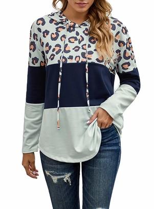 CORAFRITZ Women's Casual Long Sleeve Leopard Print Patchwork Color Block Drawstring Hoodie Gray