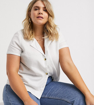 Vero Moda Curve linen button through boxy shirt-White