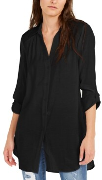 INC International Concepts Inc Solid Button-Up Tunic, Created for Macy's