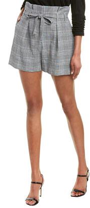 Allen Schwartz Sienna Belted Plaid Linen-Blend Short