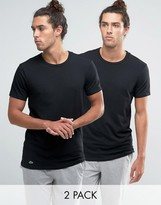 Lacoste Crew Neck T-shirt In 2 Pack In Black Slim Fit