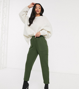 ASOS DESIGN Petite jersey twill utility peg with woven pockets