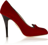 Charlotte Olympia Kitty Embroidered Velvet Pumps - IT35